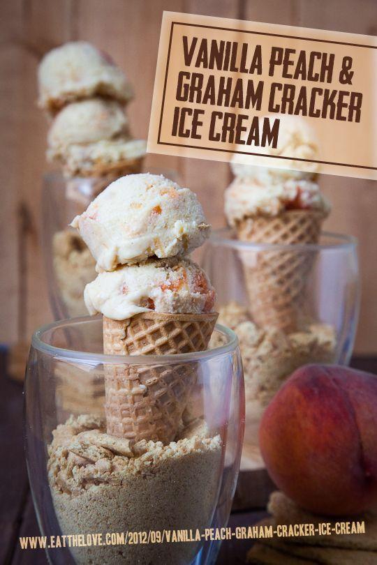 Vanilla Peach and Graham Cracker Ice Cream