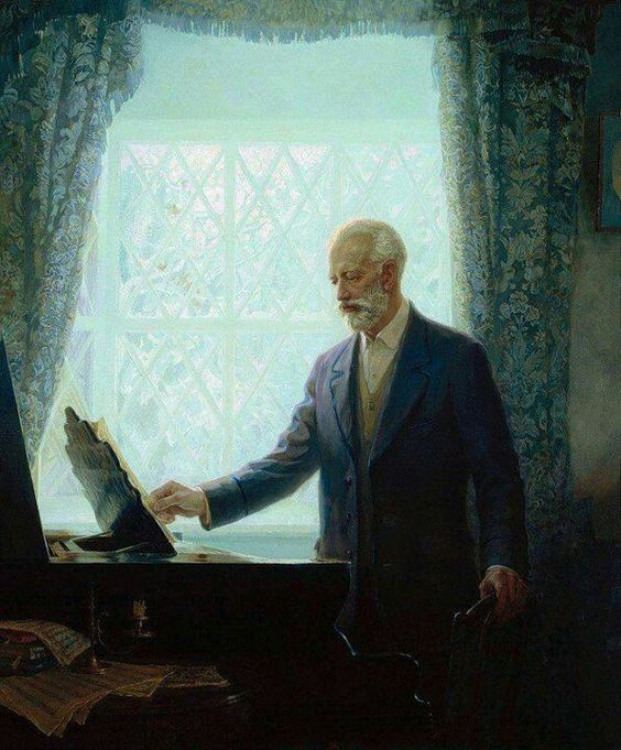 Tchaikovsky and his piano.