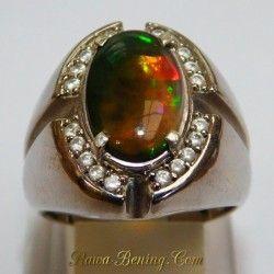 3D Black Opal Men's Silver Ring 9US