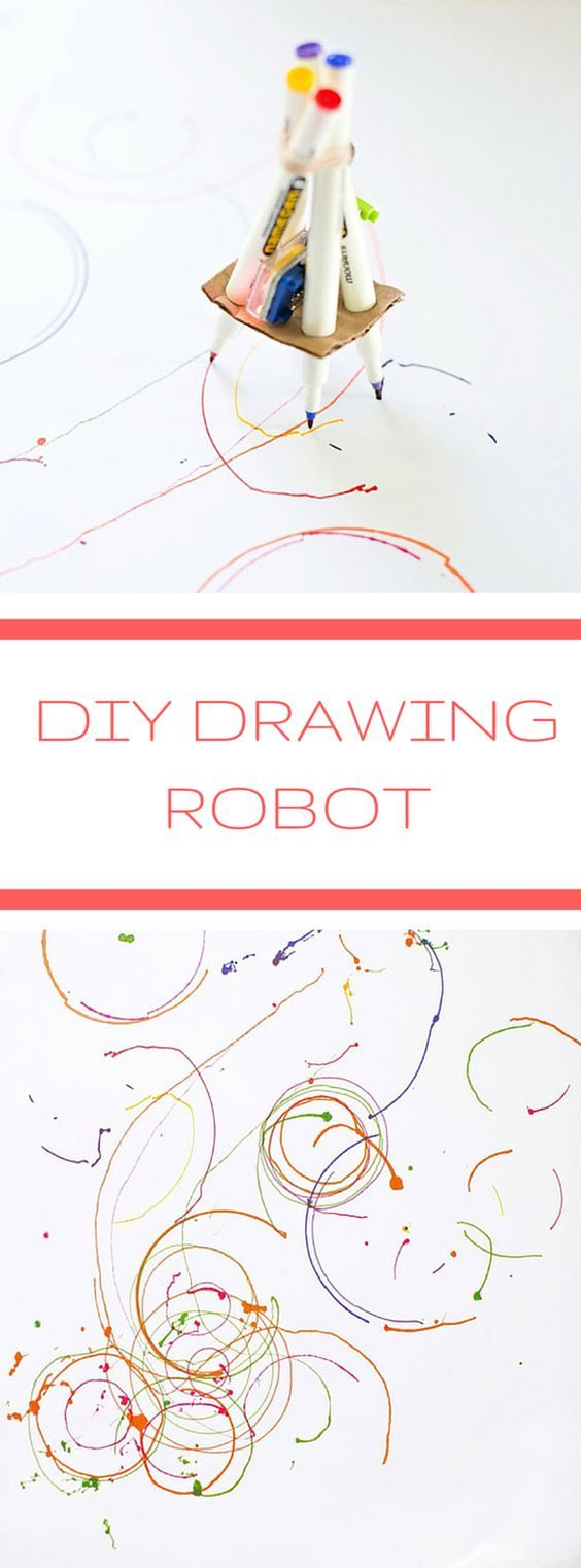DIY Drawing Robot Kids Can Make. Fun STEAM or STEM project for kids. They will love seeing their robot create cool drawings!