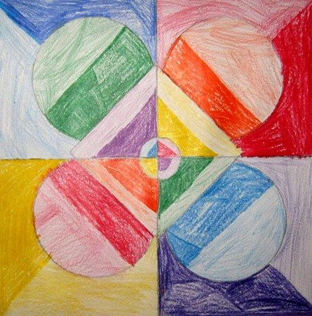 The students created a geometric design. 1/2 of the design was colored warm colors and 1/2 the design was cool. Each section had valued added to the color. Possibly could be done with paint too.