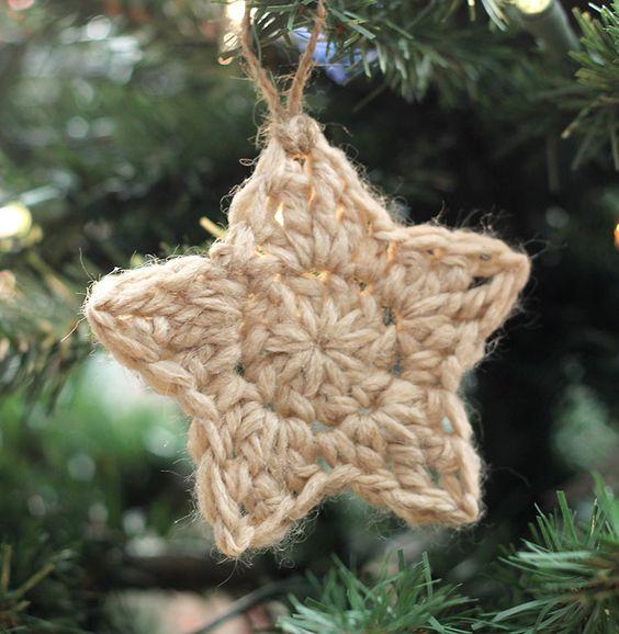 simples adornos de Navidad estrella ganchillo - modelo libre