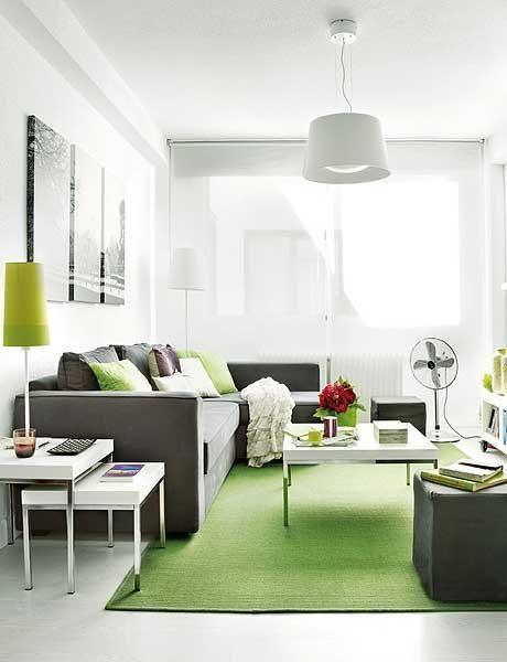 Inspiration déco   Petit appartement design vert et blanc