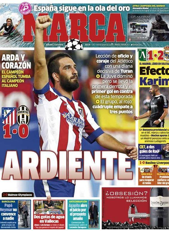 FASE DE GRUPOS DE LA CHAMPIONS. Ayer el Atlético de Madrid tenía que ganar si o si a la Juve, campeón de la liga italiana, tras perder su primer partido contra el Olympiacos.