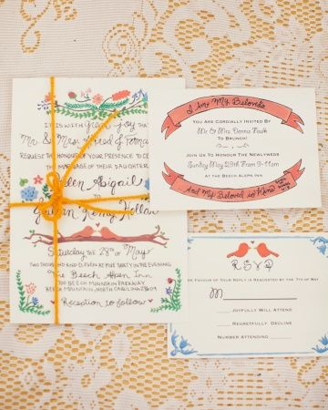 The bride hand-painted the invitation's designs, then scanned and printed them onto card stock. The suites were tied with yarn and mailed in envelopes addressed by the bride and her friends. Each envelope featured a grouping of mismatched postage stamps. <3