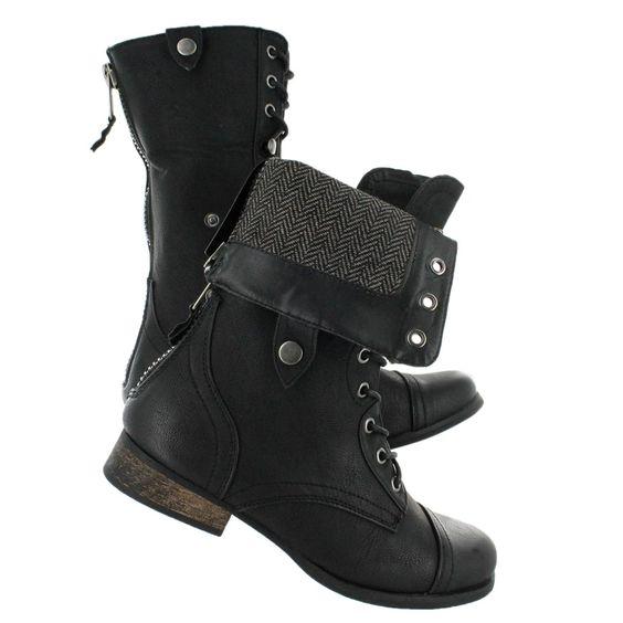 BIANCA 2 black fold over combat boots $109.99 | Shoes | Pinterest ...