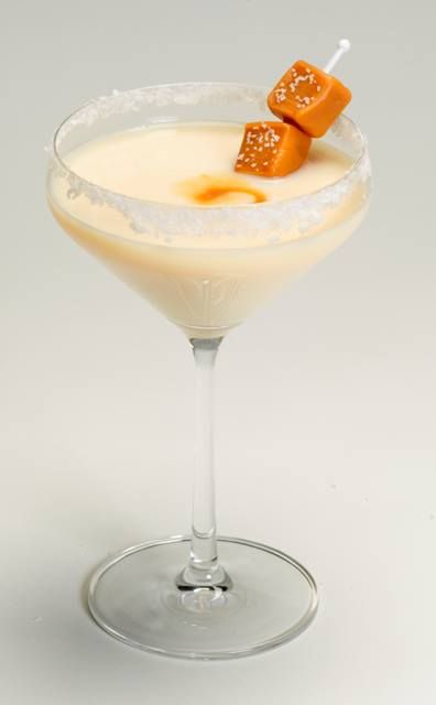THE SALTED CARAMEL MARTINI 2 parts RumChata 1 part caramel vodka sea salt/table salt (do not use margarita salt) Rim Martini glass with salt (use water, NOT lime juice). Shake ingredients with ice and strain into salted martini glass. Optional: Drizzle a teaspoon of caramel sauce into bottom of glass.