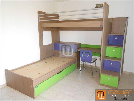 Cucheta alta con baranda triple y escalera de cajones para - Escaleras para camas altas ...
