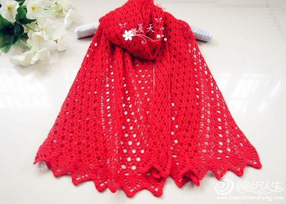 大红钩花围巾