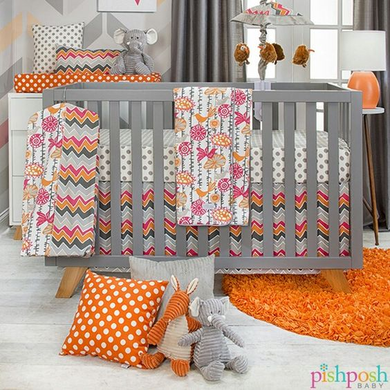 What happens when you take a whimsical print in bright, tropical colors with a contrast of exciting chevron and playful dots? You get Glenna Jean's Calliope, that's what! Soft and smooth cotton gives cozy comfort and brightens baby's space! Shop our entire Calliope collection on our site!  http://www.pishposhbaby.com/glenna-jean-calliope.html