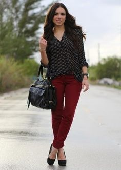 Simple Skinny Fit Denim Jean Pants Jeans For Woman Dark Pink Red Jeans