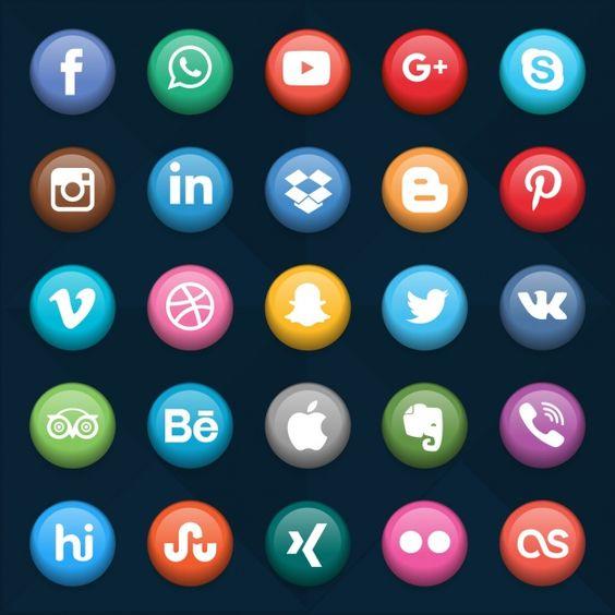 coleta de redes sociais botões Vetor grátis