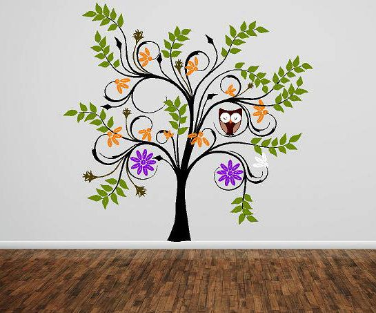 Beautiful!!  Vinyl decal Tree owls flowers  Vinyl by itswritteninvinyl on Etsy, $126.22