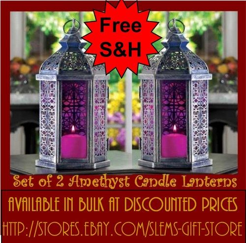 Amethyst Candle Lanterns holders purple lamps set of 2 wedding table patio decor $32.95 Free Shipping http://stores.ebay.com/Slems-Gift-Store  *OR* order directly from me at dslem3@yahoo.com and receive 20% off any item in the store!  Available in any quantity at bulk discount pricing