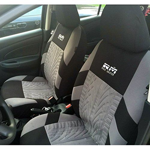 Autoyouth Tire Track Detail Front Bucket Seat Covers Car Interior Accessories Universal Fit A 204pcs Black Gray Ad Bu Seat Covers Car Seats Black And Grey