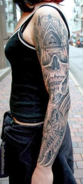 skull gothic cathedral tattoo this would be cool with a grim reaper standing in front of the. Black Bedroom Furniture Sets. Home Design Ideas