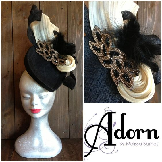 Cream and Black by MELISSA BARNES  #HatAcademy #millinery