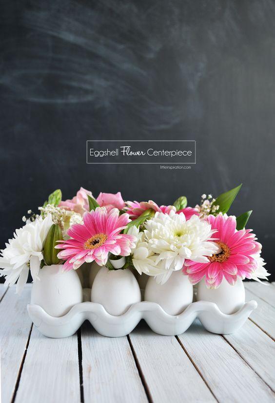 Eggshell flower centerpieces for Easter: