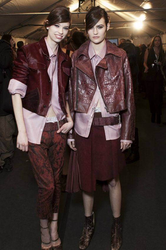 Diesel Black Gold A/W 12. Painted jeans and oxblood leather.