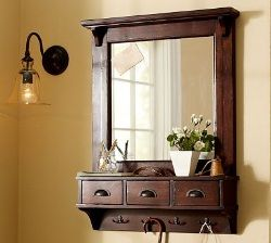 Pottery Barn does it again with this beautiful wall-mount entryway mirror and organizer.