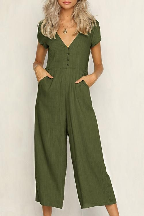 Orsle Casual V Neck Simple Button Short Sleeve Jumpsuits