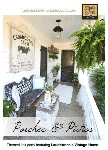 160+ PORCHES AND PATIOS - a themed link party via Funky Junk Interiors: Farmhouse Porch, Front Porche, Pretty Porch, Back Porch