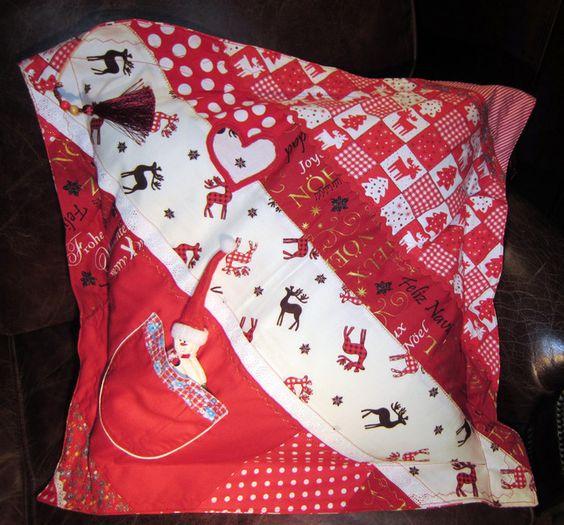 weihnachtliches kissen, mit liebe und spaß genäht 52cm x 52cm ...