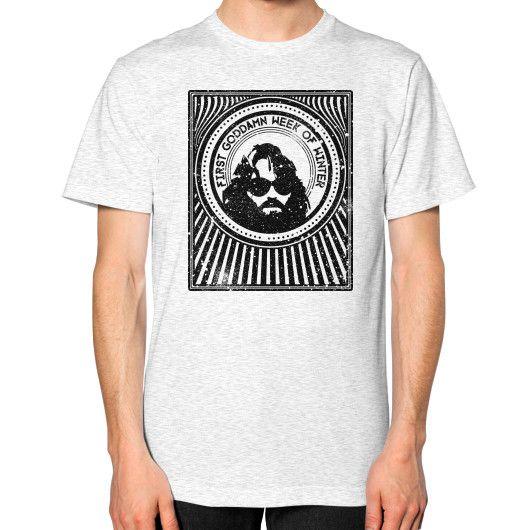 R J MacReady The Thing Unisex T-Shirt (on man)