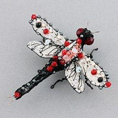dragonfly brooch - silver and red by susan horth