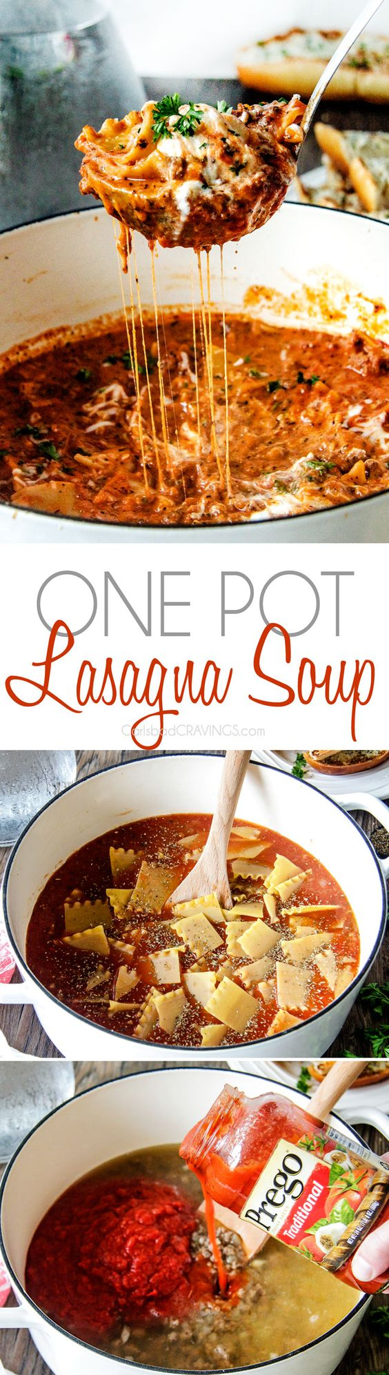 Easy One Pot Lasagna Soup tastes just like lasagna without all the layering or dishes! Simply brown your beef and dump in all ingredients and simmer away! (I feel this could be yummy)
