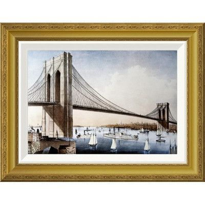 Global Gallery 'Brooklyn Bridge, New York City' by Unknown Framed Painting Print Size: