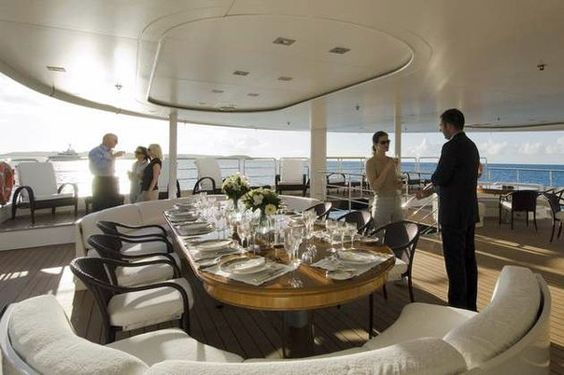 outside decks are perfect for entertaining #yacht #outdoorliving