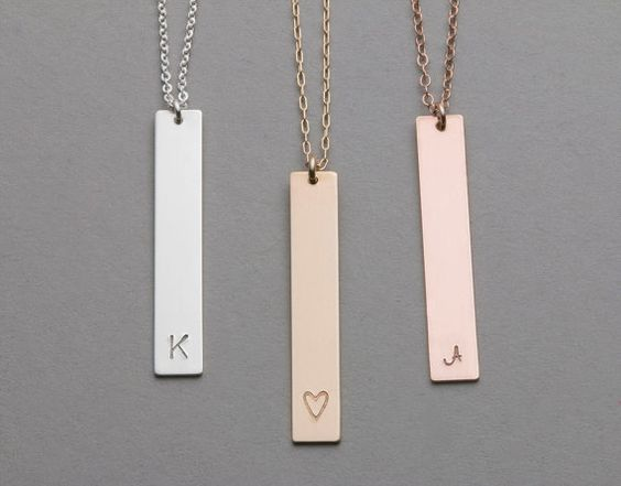 Long Necklace, Gold, Silver, Rose Gold / Layered and Long Gold Bar Necklace / Customized Initial Pendant Necklace / Initial Necklace LN104v