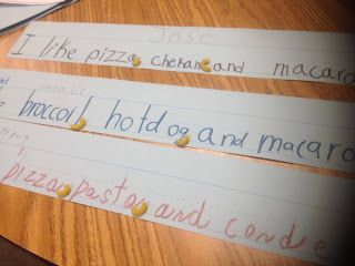commas in a series--cute activity using macaroni noodles