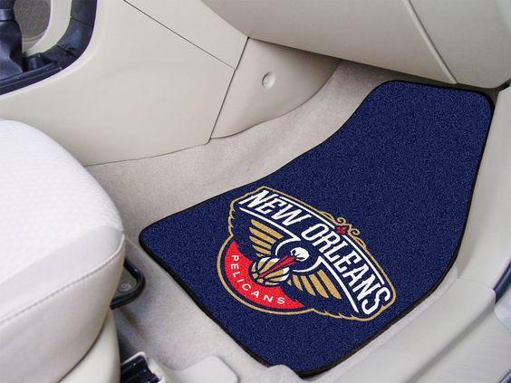 New Orleans Pelicans 2-pc Printed Carpet Car Mat Set