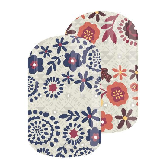 Boho Blossoms | Jamberry | Featuring a boho-chic floral print in neutral-hued blues and reds, 'Boho Blossoms' is a go-to for any season.