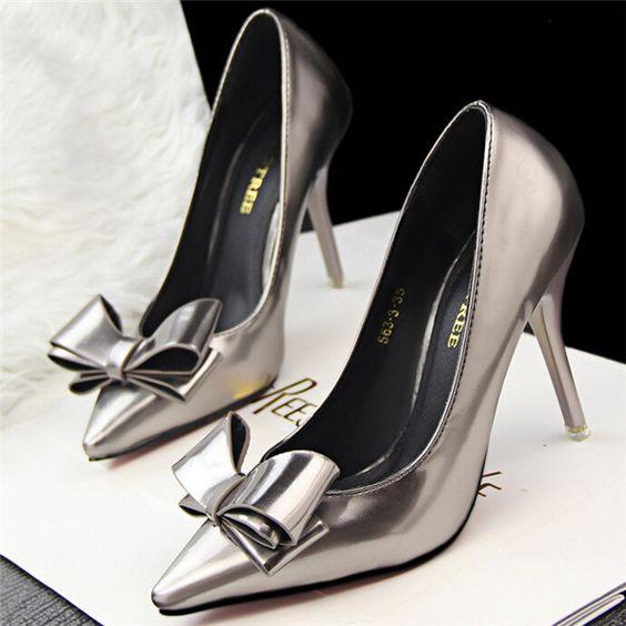 2015 Hot venta Sexy inferiores rojos de tacón alto Bowtie bombea los zapatos de mujer elegante moda para mujer del oro de trabajo sapatos femininos 30366 en Bombas de las mujeres de Calzado en AliExpress.com | Alibaba Group