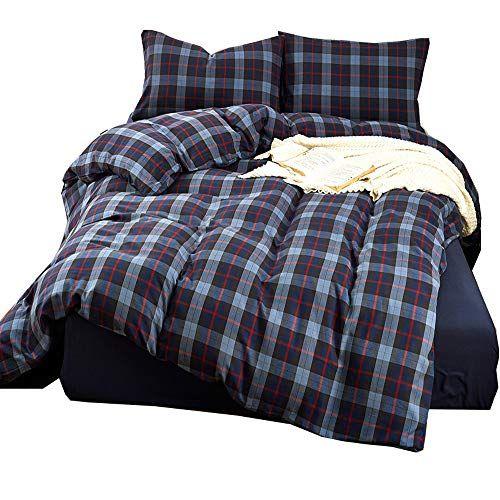 Luxury 3 Piece Blue Grid Flannel Duvet Cover Set Full Que Https Www Amazon Com Dp B071qy8nvr Ref Cm S Flannel Duvet Cover Duvet Cover Sets Comforter Cover