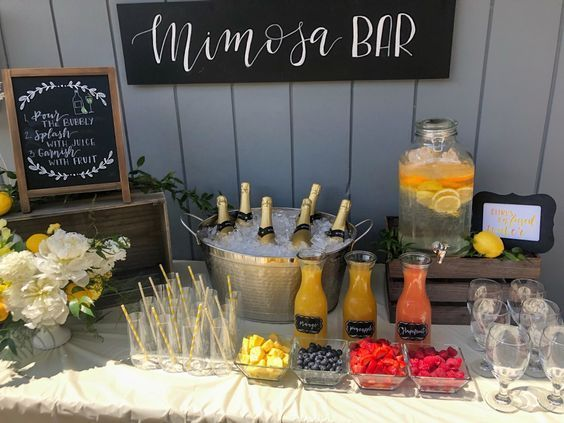 Mimosa Bar Baby Shower Brunch Fruity Snacks Birthday Brunch