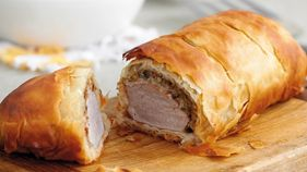 Roasted pork fillet with mushroom and sage in filo pastry... Try a roast with a twist with this herby mushroom dish... Preparation time 20 minutes... Cooking time 35 minutes...