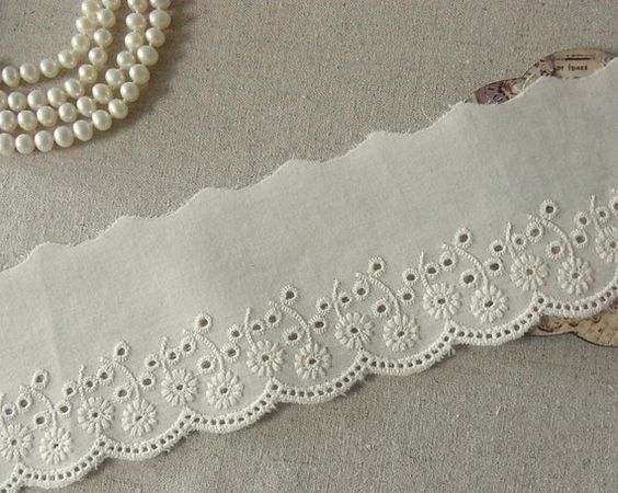 14Yds broderie anglaise vintage cotton eyelet lace trim 2.3cm YH549 laceking