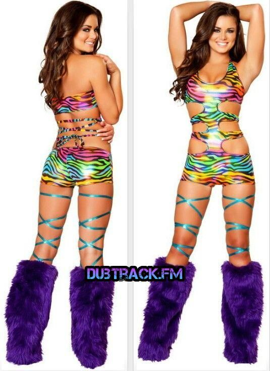 rainbow zebra, zebra print and rave wear.