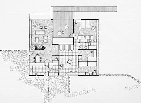 Rose Seidler House Main floor plan   RESIDENTIAL    Holiday House    Rose Seidler House Main floor plan
