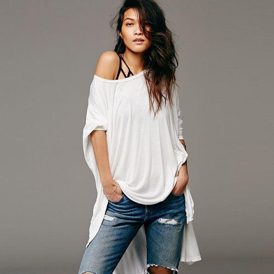 Nouveau mode femmes Batwing manches chauve   souris lâche Oversize Long t   Shirt taille Plus de Tee Knit Top Casual Shirt Plus Size XXL Y0302 39E dans T-shirts de Accessoires et vêtements pour femmes sur AliExpress.com | Alibaba Group