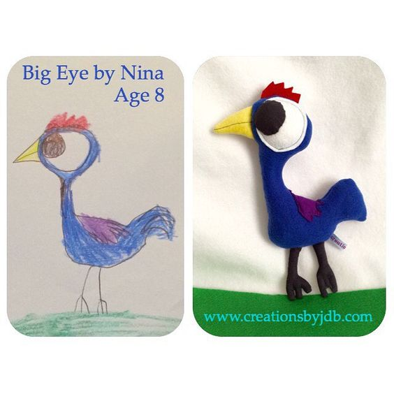 Tada!  Big Eye, the plush bird is born!  Thanks again @chipcharles !  #plush #softie #studio #bird #child #drawing #custom #fun #commission #art #craft #handmade #sewing #chicken