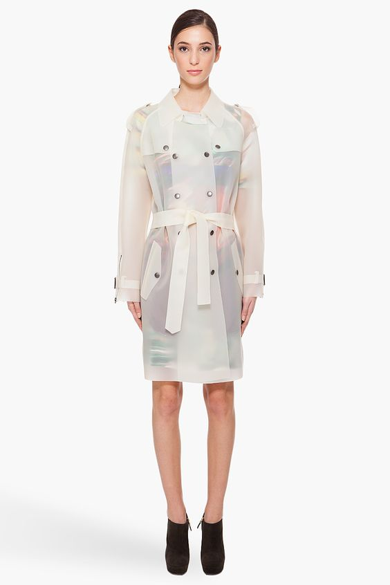 Black Double-Breasted Long Coat | Trench Transparent raincoat and