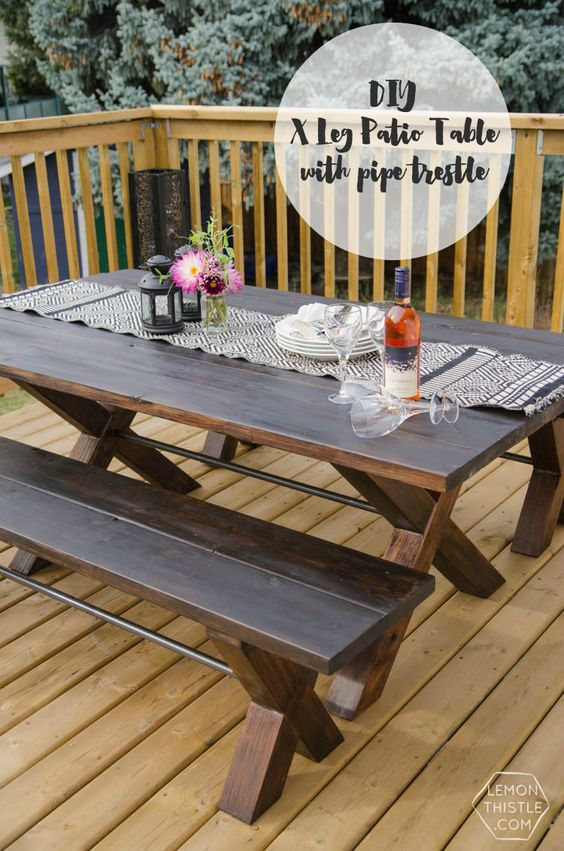 Diy X Leg Patio Table With Pipe Trestle Home Love Diy
