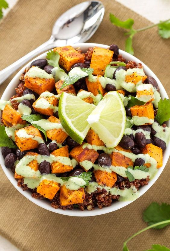 Sweet Potato and Black Bean Quinoa Bowls - Spoonful of Flavor