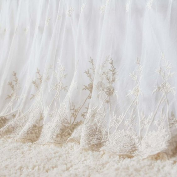 lace dust ruffle. lace bed skirt. embroidery bed skirt. luxury bed skirt.luxury bedspread. ruffle bedspread. lace bedspread. shabby chic bedding. shabby chic bed skirt. luxury dust ruffle. shabby chic dust ruffle. Lace Love Bed Skirt with White Cotton Liner