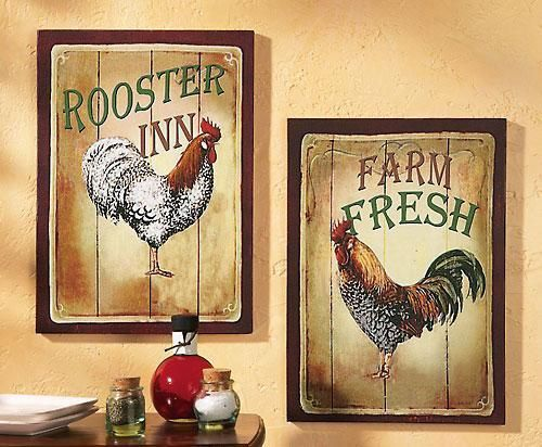 Rooster decor rooster print set country decor country for Rooster home decor